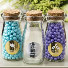 FashionCraft personalized metallics collection Vintage Glass Milk Bottle With Round Cork Top Glass Bottles With Corks, Glass Jars, Vintage Milk Bottles, Personalized Baby Shower Favors, Vintage Wedding Favors, Wedding Bottles, Cork Stoppers, Milk Glass, Treats