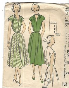 """Vintage 1950's Sewing Pattern McCall's 8793 Easy Flared Dress Bust 34"""" Missing"""