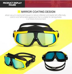 b1e374e3be8 Large Swimming Goggles with Anti-Fog clear vision UV Protected Lens