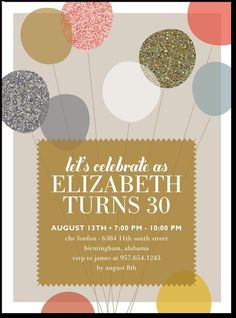 Cute party invitation ideas-- Alluring Balloons:Umber