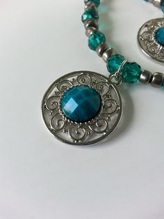 Green Turquoise and Silver Crystal Beaded Necklace and Bracelet Set