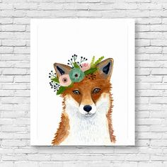 Original watercolor fox Woodland Nursery Art Animal by zuhalkanar