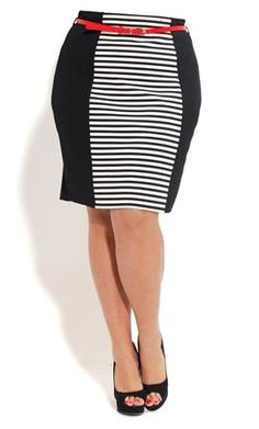 Plus Size Stripe Panel Skirt with Belt - City Chic  $54.00