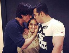 Shahrukh Khan and Salman Khan with Salman Khan's Sister.