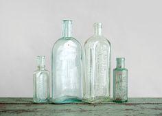Antique Bottle Collection  Glass Rustic Flower Vase by Hindsvik, $49.00