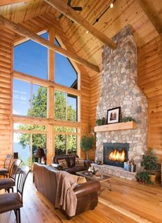 Great room- cedar logs