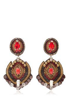 Red Crystal Earrings by RANJANA KHAN for Preorder on Moda Operandi