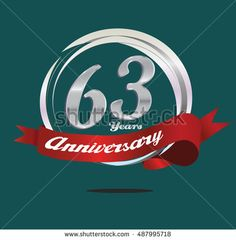 63 years silver anniversary logo with silver ring composition and red ribbon. anniversary logo for birthday, celebration, wedding and party