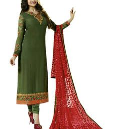 Buy Green embroidered Georgette unstitched salwar dress-material online