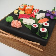 Grooms Gone Wild! Sushi Cake The Bakers: Classic Cakes, Carmel, IN The Challenge: Sweeten up the savory. Fun Fact: You won't find any rice or fish in this sushi. All the pieces are made out of various types of sugar and white chocolate rolled fondant.