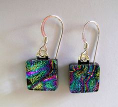 The size is by and the ear wires are sterling silver. All my jewelry come in a nice gift box. Glass Earrings, Glass Jewelry, Beaded Earrings, Drop Earrings, Dichroic Glass, Best Gifts, Buy And Sell, Pendants, Sterling Silver