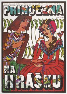 Movie Poster - The Princess and the Pea designed by Vratislav Hlavatý, 1978 #movieposter #kidsposter #illustration #vintageposter
