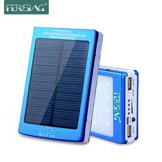 Solar Power Bank 100% Real 15600mAh Dual USB Battery Portable LED Light Charger Metal Powerbank Solar Panel 2016 Ferising PB-11
