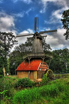 The combined windmill and water mill in Huven, Lower Saxony, Germany