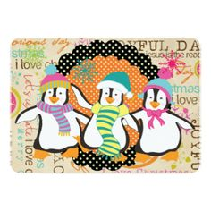 Typography and Penguins Christmas Holiday 5x7 Paper Invitation Card. This colorful, fun, cheery penguin holiday card is part of a set that includes matching postage stamps, address labels, stickers, envelopes, binders, and more. Check out the entire set! http://www.zazzle.com/christmasshop/gifts?cg=196133328908188270