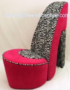 Bon Zebra And Hot Pink High Heel Shoe Chair