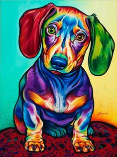 Dachshund DIY Diamond Painting - Animal Resin Cross Stitch Kit - Crystals Embroidery - Home Decor Craft (Dog) Arte Dachshund, Dachshund Love, Dachshund Puppies, Weenie Dogs, Doggies, Arte Pop, Dog Paintings, Matisse Paintings, Art And Illustration