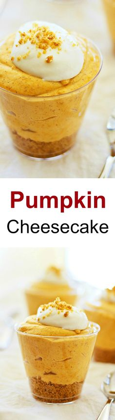 Pumpkin Cheesecake – THE BEST fall cheesecake ever! Fast, easy, no-bake with easy ingredients: pumpkin, cream cheese and sugar to make the cheesecake | rasamalaysia.com
