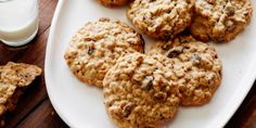 Raisin Pecan Oatmeal Cookies Recipe : Ina Garten : Food Network Made - amazing. Cut the oil & subbed blueberries for raisins Oatmeal Cookie Recipes, Oatmeal Cookies, Cookie Desserts, Just Desserts, Dessert Recipes, Fun Recipes, Oatmeal Scotchies, Oatmeal Biscuits, Oatmeal Muffins