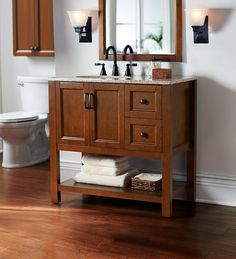 With its large cabinet and two drawers, the Catalina 36 in. vanity offers an ideal storage solution for your bathroom.