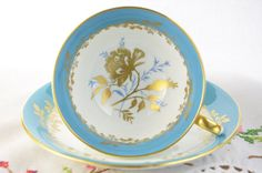 Blue and white Aynsley rose tea cup and saucer by VieuxCharmes