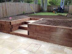 Raised Bed Garden Design, Backyard Garden Design, Small Garden Design, Backyard Projects, Backyard Ideas, Garden Ideas, Garden Retaining Wall, Landscaping Retaining Walls, Sloped Garden