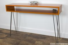 Custom Built by Rhino Restoration.  Mid Century Modern Orange Console Table with Hairpin Legs