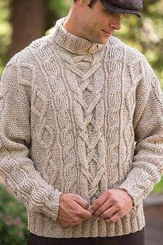 Men's Hand Knit Wool Turtleneck Sweater 62B