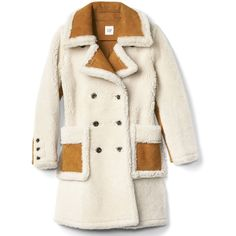 Shearling suede coat (13.532.880 IDR) ❤ liked on Polyvore featuring outerwear, coats, sheep fur coat, shearling coat, suede leather coat, suede shearling coat and white shearling coat