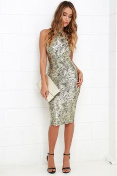 Palmetto Gold Print Bodycon Midi Dress at Lulus.com!