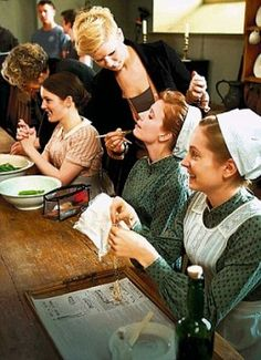 Downton Maids and final Makeup on the Set