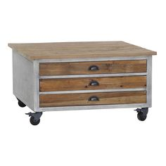 Modern and eye catching, this Channing coffee table will make the perfect centerpiece to your living room. The recycled wood has a natural oak finish. The iron frame has a multi-step ash grey speckle finish that gives this table an urban appeal.