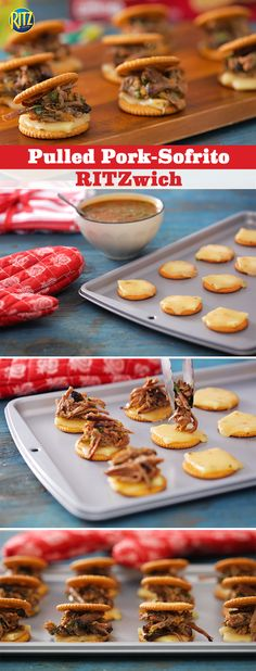 """Nothing says """"bring on summertime"""" like our Pulled Pork-Sofrito RITZwiches. Simply warm up some sofrito tomato sauce with fully cooked pulled pork in a skillet. Melt pepper jack cheese on RITZ Crackers and add mixture. Top with a RITZ Cracker and you've got the perfect snack pairing for your next block party."""