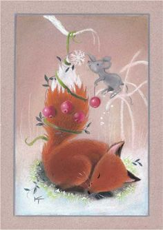 Fox Asleep the mice play Christmas Pictures, All Things Christmas, Christmas Cards, Fuchs Illustration, Cute Illustration, Sleeping Fox, Fox Totem, Fox Crafts, Fox Drawing