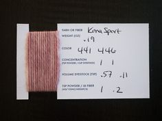 is a dye sample but is a good set up for a spinning sample. If the notch is it would show wpi. Spinning Wool, Hand Spinning, Spinning Wheels, Fabric Yarn, How To Dye Fabric, Yarn Storage, Textiles, Hand Dyed Yarn, Yarn Crafts