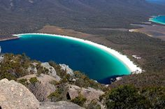 Wineglass Bay Tasmania Australia  so beautiful.  I wonder how one gets there.