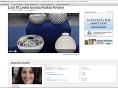 LUCY M. LEWIS appraised pottery http://www.pbs.org/wgbh/roadshow/season/15/des-moines-ia/appraisals/lucy-m-lewis-acoma-pueblo-pottery--201005A48