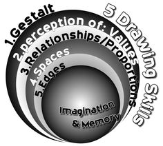 5 Perceptual Skills needed for developing the global skill of drawing, according to Dr. Betty Edward's Drawing on the Right Side of the Brain.