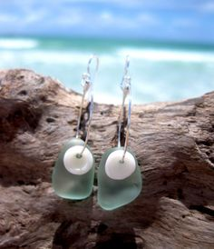 Hawaiian Aqua Blue Beach Glass with Matching Small Hawaiian Puka Shells on 925 Sterling Silver Circular Wire Small Hoop Earrings by LindseysBeachGlass, $49.00