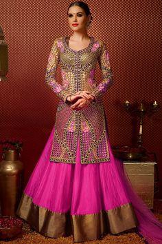 Beige And Pink Silk Long Jacket Style Bridal Lehenga Choli Online ,Veeshack.com   Fashion for the World - 1