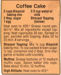 Memere's Favorite Recipes: Basic Bisquick Coffee Cake