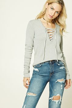 655f4e9df1 26 Best Lace Up Sweater images