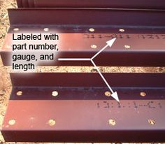 Each component is labeled with part number, gauge and length. #steelerectors #steelhome #construction