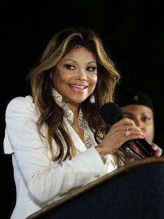 La Toya Jackson at Gary, Indiana giving a speech on August 29, 2012 for Michael Jackson Birthday celebration gathering.