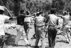 Patrick Leigh Fermor dancing with the builders during the construction of the house in Kardamyli, Photo: Joan Leigh Fermor. National Library of Scotland, Joan Leigh Fermor Photographic Collection. © Estate of Joan Leigh Fermor Patrick Leigh Fermor, Alberto Giacometti, Artist Names, France Travel, British Museum, Guide Book, Athens, Charmed, Tours