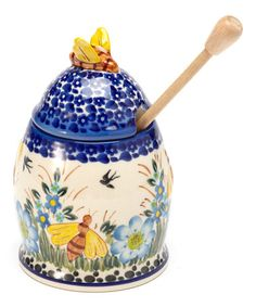 Take a look at this Blue Flowers Honey Pot by Lidia's Polish Pottery on #zulily today!