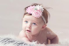 Baby Headband-Baby Girl Headband-Infant Headbands-Pink Flower Headbands-Vintage Headbands-Spring Photo Prop