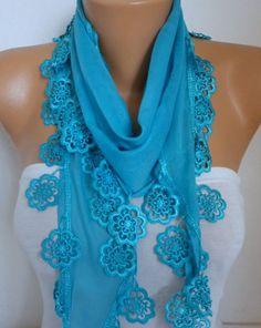Blue Cotton Scarf Fall Fashion Scarf Necklace Shawl by fatwoman