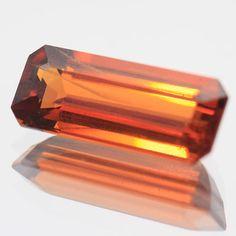 Natural Gemstone Spessartite Garnet Orange Baguette 4.55 Ct. Faceted