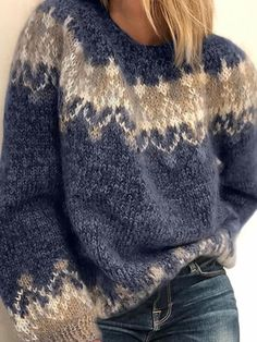 Women& Long Sleeve Fair Isle Sweater Plus Size Oversized Sweater Women& fashion long-sleeved Fair Isle sweater oversize Swea – Allinlike Fair Isle Pullover, Womens Knit Sweater, Long Sweater Coat, Sweater Shop, Long Sweaters For Women, Techniques Couture, Bohemian Tops, Fair Isle Knitting, Sock Knitting